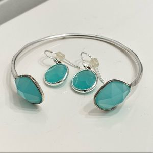 Stella and dot earrings & matching cuff bracelet.